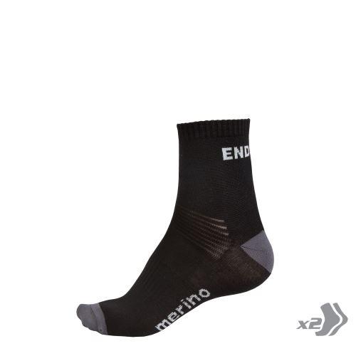Endura BaaBaa Merino ponožky (2-balení) Černá